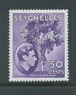 Seychelles 1938 KGVI 50 Cent Reddish Violet Coco Palm Chalky Paper Fine FM , Heavy Hinged - Seychelles (...-1976)