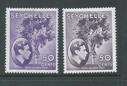 Seychelles 1938 KGVI 50 Cent Reddish Violet & Dull Violet Coco Palm Shades FM - Seychelles (...-1976)