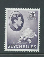 Seychelles 1938 KGVI 75 Cent Slate Lilac Violet Tortoise MLH , Lightly Aged Gum - Seychelles (...-1976)