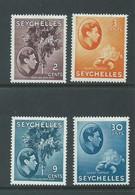 Seychelles 1938 KGVI Definitives 2c , 3c Orange, 9c & 30c Chalky Paper Varieties MLH - Seychelles (...-1976)