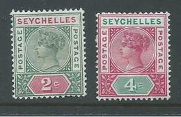 Seychelles 1890 - 1900 QV 2c & 4c Die II Strong Colours FM , HR - Seychelles (...-1976)