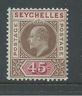Seychelles 1903 KEVII 45c FM , LH - Seychelles (...-1976)
