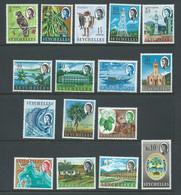 Seychelles 1962 - 1968 QEII Definitives Part Set Of 16 To 10 Rupees FM , Missing 30c & 1.5R Values - Seychelles (...-1976)