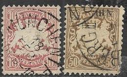 Germany Bavaria 1876-8  Sc#41 & 45  10pf & 50pf  Used 2016 Scott Value $28.75 - Bayern (Baviera)