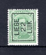 PRE61A-IV MNH** 1922 - LIEGE 22 LUIK - Typo Precancels 1922-26 (Albert I)