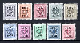 PRE666/675 MNH** 1957 - Cijfer Op Heraldieke Leeuw Type E - REEKS 50 - Typos 1951-80 (Ziffer Auf Löwe)