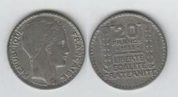 France 20 Francs 1938; Turin; Faux 15.7gr; - L. 20 Franchi