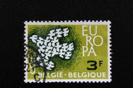 1961,BELGIQUE EUROPA  Y&T NO 1193 3F VERT PÂLE ET VERT -NOIR OBLITERE - Oblitérés