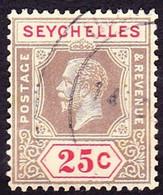 SEYCHELLES 1925 KGV 25 Cents Black & Red/Pale-Yellow SG114FU - Seychelles (...-1976)