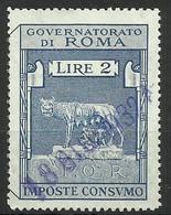 ROMA 2 LIRE IMPOSTA CONSUMO, MARCA DA BOLLO COMUNALE, REVENUE, MUNICIPAL STAMP, Rif.24 - Otros