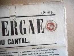 2C BRUN EMPIRE Cachet De ST FLOUR Sur Journal LA HAUTE AUVERGNE CANTAL Du 15 OCTOBRE1870 - Newspapers