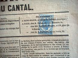 FISCAL 2C JOURNAUX  ANNULATION TYPO Sur Journal LA HAUTE AUVERGNE CANTAL Du 28 AOUT 1869 - Newspapers