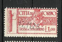 TORINO 1 LIRE TASSA SOGGIORNO , MARCA DA BOLLO COMUNALE, REVENUE, MUNICIPAL STAMP, Rif.34 - Otros