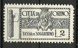 TORINO 2 LIRE TASSA SOGGIORNO , MARCA DA BOLLO COMUNALE, REVENUE, MUNICIPAL STAMP, Rif.35 - Otros
