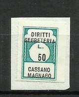 CASSANO MAGNAGO (varese) DIRITTI SEGRETERIA , MARCA DA BOLLO COMUNALE, REVENUE, MUNICIPAL STAMP, Rif.44 - Otros