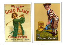 2 CARDS PUBLICITÉ - CIGARETTES  WILLS > And GOLF - Advertising