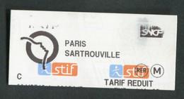 """Ticket De Train / RER Parisien (décentré) Années 2000 """"Paris - Sartrouville"""" RATP STIF SNCF - Paris - Métropolitain - Europa"""