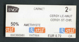 """Ticket De Train / RER Parisien 2013 """"Améthyste 50% Carnet - Cergy"""" RATP STIF SNCF - Paris - Métropolitain - Europa"""