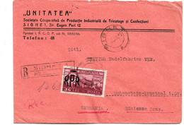 Rum119/ RUMÄNIEN - SIGHET 1949 Nach Hohenstein (Deutschland) Einschreiben, Einzrlfrankatur - Cartas