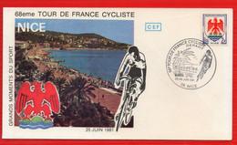 FDC 68 EME  TOUR DE FRANCE CYCLISTE NICE 25 26 6 1981 - 1980-1989