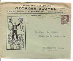 ENVELOPPE ILLUSTREE 1946 AVEC TIMBRE A 3 FR MARIANNE DE GANDON ET CACHET STRASBOURG GARE - Alsace Lorraine