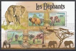 Elephant Elephants Animals Central Africa M/S Of 4 Stamps 2011 - Elefanten