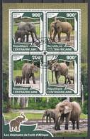 Elephant Elephants Animals Central Africa M/S Of 4 Stamps 2016 - Elefanten