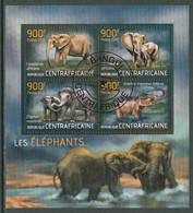 Elephant Elephants Animals Central Africa M/S Of 4 Stamps 2013 - Elefanten