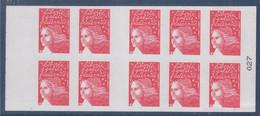 Type Marianne De Luquet Dite Du 14 Juillet, RF, TVP. Carnet  X10, Autocollant, Rouge, Type Du N° 3419-C2 Et 027 à Droite - Definitives