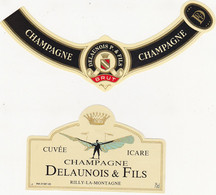 Etiquette Champagne DELAUNOIS P. & FILS à Rilly-la-Montagne / CUVEE ICARE (Bleu) (Aviation) - Champagne