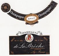 Etiquette Champagne De La Brèche à Ay / BRUT 1er Cru - Champagne