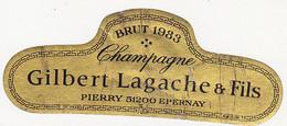 Etiquette Champagne Gilbert Lagache & Fils à Epernay / BRUT 1983 - Champagne
