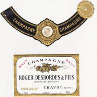 Etiquette Champagne ROGER DESBORDES & FILS à CHAVOT / BRUT EXTRA QUALITY - Champagne