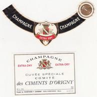 Etiquette Champagne Cuvée Spéciale Comité Des CIMENTS D'ORIGNY (Oeuilly-Montvoisin) / EXTRA DRY - Champagne