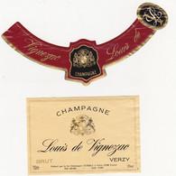 Etiquette Champagne Louis De Vignezac à Verzy / BRUT - Champagne