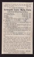 ZUSTER MARIA ELVIRA / ANNA DE CLERCQ         NAZARETH 1887      GENT 1946 - Overlijden