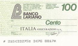 MINIASSEGNO BANCO LARIANO ITALIA ASSICURAZIONI S.P.A. - [10] Cheques Y Mini-cheques