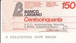 MINIASSEGNO BANCO LARIANO A.P.I. ASSOCIAZIONE PICCOLE E MEDIE INDUSTRIE LECCO - [10] Cheques Y Mini-cheques