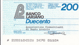 MINIASSEGNO BANCO LARIANO ASSOCIAZIONE COMMERCIANTI DI BUSTO ARSIZIO - [10] Cheques Y Mini-cheques