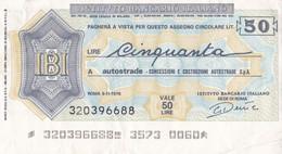 MINIASSEGNO L' ISTITUTO BANCARIO ITALIANO AUTOSTRADE CONCESSIONI E COSTRUZIONI AUTOSTRADE S.P.A. - [10] Cheques Y Mini-cheques
