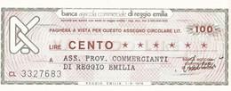 MINIASSEGNO BANCA AGRICOLA COMMERCIALE DI REGGIO EMILIA ASS. PROV. COMMERCIANTI DI REGGIO EMILIA - [10] Cheques Y Mini-cheques