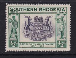 Southern Rhodesia: 1940   BSAC's Golden Jubilee   SG53    ½d    MNH - Zuid-Rhodesië (...-1964)