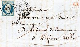 Lettre Du 24/04/1855 - CHAGNY - Origine Rurale Santenay - OR Rouge Pc /N°14 - 1853-1860 Napoleon III