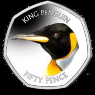 Falkland Islands 50p Coin King Penguin Diamond Finish Uncirculated - Falkland Islands