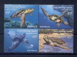 COCOS ISLANDS * 2002 * Complete Set 4 Stamps In Block * MNH** Turtles - Mi.No 408-411 - Cocoseilanden