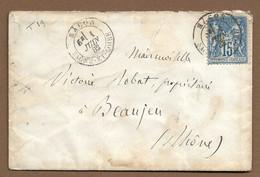 MACON  : 1882 : Cachet à Date  Type 19 Sur Sage 15c Bleu :  ( Saône Et Loire ) : - 1877-1920: Periodo Semi Moderno