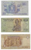 B30 - Egypt - 3 Bank Notes - Egipto