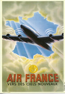 Cartes Géographiques - Carte De La France - Air France Vers Des Ciels Nouveaux 1 Avion - Cpm - Vierge - - Landkaarten