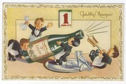 B30 - Gelukkig Nieuwjaar - Champagne / Wijn / Glazen - Gebruikt Brussel - Anno Nuovo