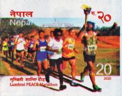 Lumbini PEACE Marathon STAMP Adhesive NEPAL 2020 MINT - Leichtathletik